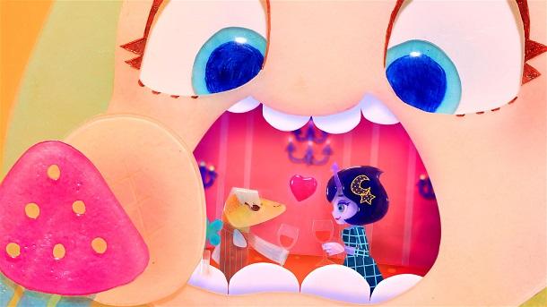 写真・図版 : 『Candy Caries』 女の子ママの口の中に棲み、勝手にパーティを開く虫歯のカリエス ©Tomoki Misato/WIT STUDIO