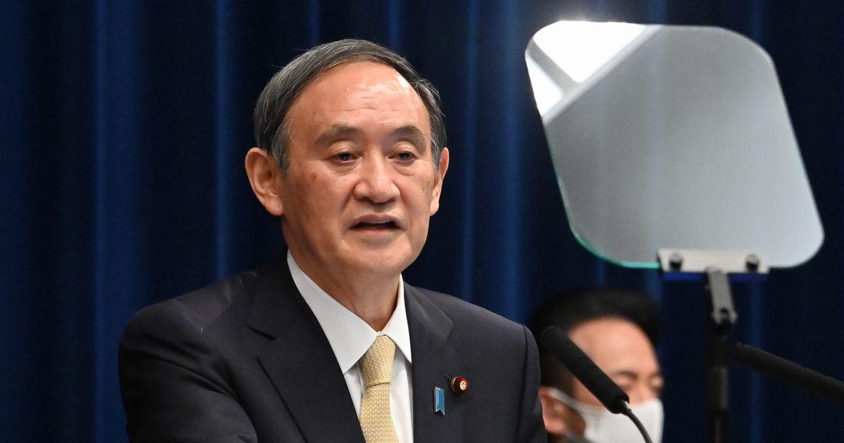写真・図版 : 3度目の緊急事態宣言を出した後、記者会見する菅義偉首相=2021年4月23日、首相官邸