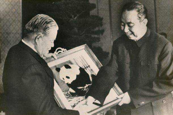 写真・図版 : 北京で華国鋒中国首相と面会する大平正芳首相。この訪中で政府開発援助を約束した=1979年12月5日