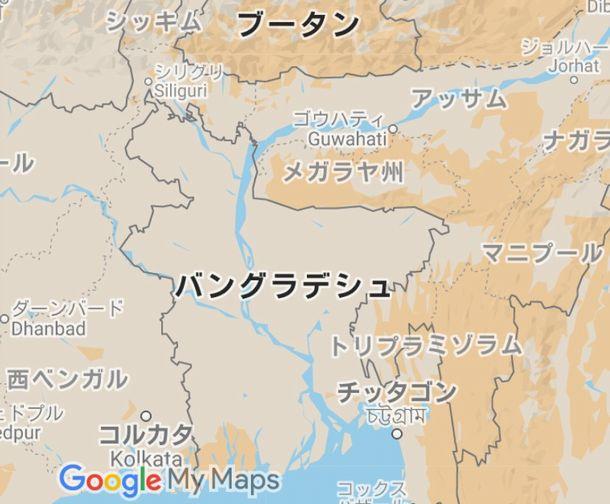 写真・図版 : インド・アッサム州とその周辺(Google Mapから)