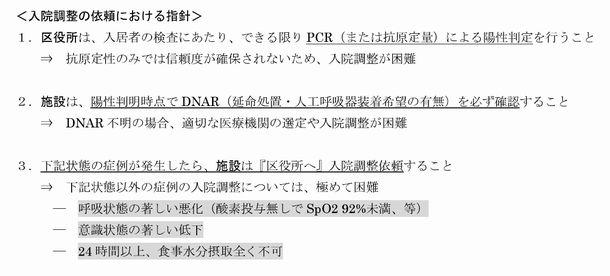 川崎市の「蔓延期における高齢者・障害者等施設内陽性者の入院対応について(協力要請)」から抜粋
