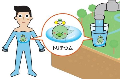 写真・図版 : トリチウムを「ゆるキャラ」のように描いた当初のパンフレット。水道水や人体にも含まれていることが強調されている