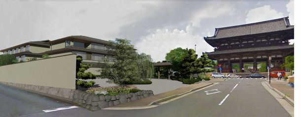 写真・図版 : 仁和寺前に計画されているホテルのイメージ図=京都市提供