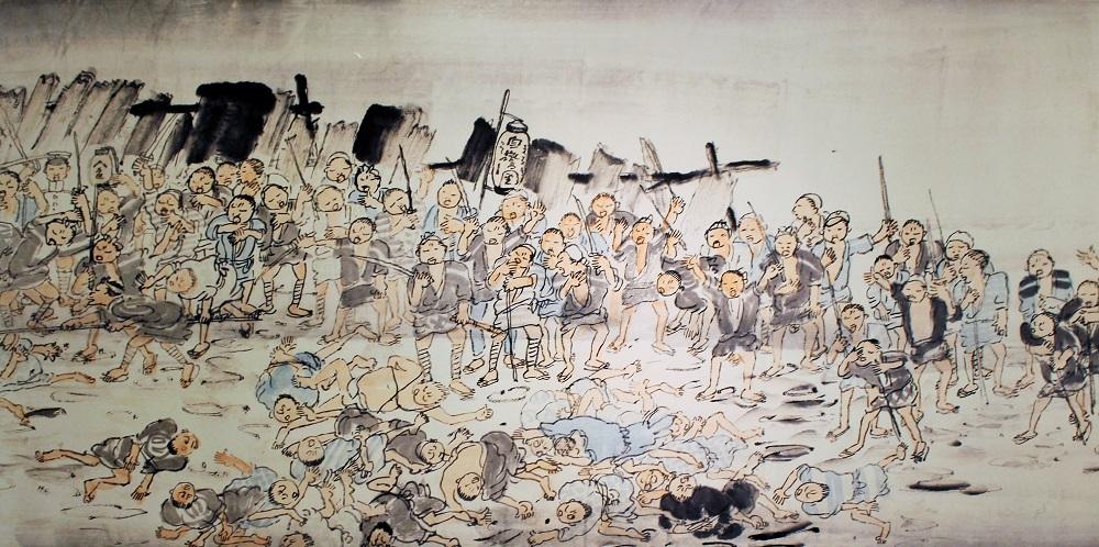 写真・図版 : 萱原白洞「東都大震災過眼録」(国立歴史民俗博物館蔵)。「自警団」のちょうちんを掲げた民衆が刀でけしかけ、斬りつけられた人々が倒れている
