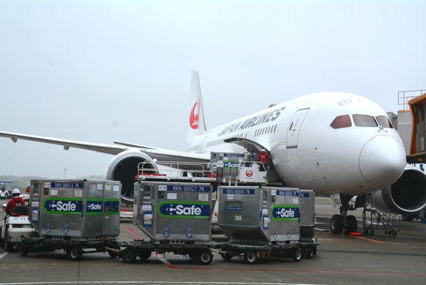 台湾向けのワクチンなどが積み込まれる日本航空の航空機=2021年6月4日、成田空港