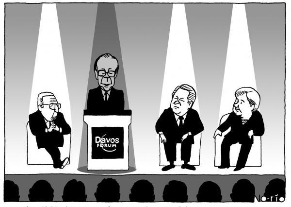 2008年1月のダボス会議で原稿を読む福田康夫首相(当時)。この漫画は、同年8月のAERAに掲載された。