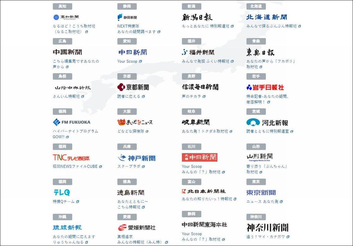 写真・図版 : 西日本新聞社が提唱するオンデマンド調査報道「あな特」と連携協定を結ぶパートナーメディアの一覧=西日本新聞ウェブサイトから