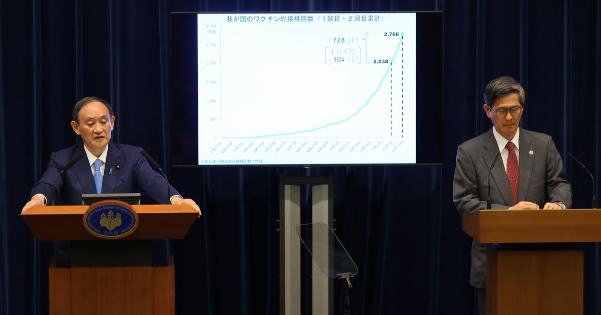 写真・図版 : 記者会見にのぞむ菅義偉首相(左)と政府分科会の尾身茂会長=2021年6月17日、首相官邸