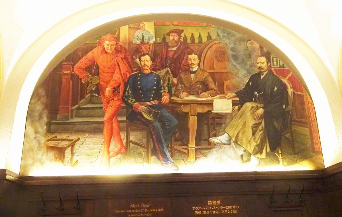 写真・図版 : ライプチヒのレストランの壁には、訪れた森鴎外(右)が描かれている=2019年11月、筆者撮影