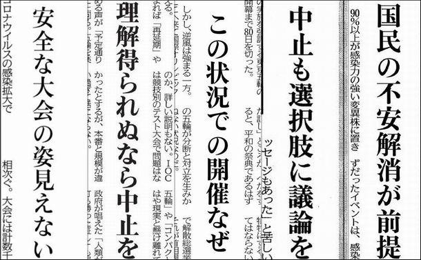 東京五輪開催に疑義や中止を唱える地方紙各紙の社説の見出し