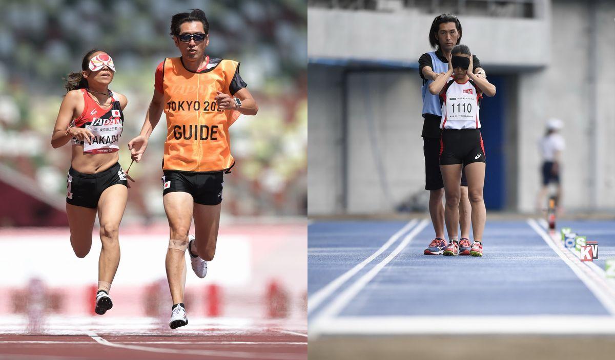 写真・図版 : 【写真左】東京パラリンピック女子100㍍(視覚障害T11)予選で力走する高田千明(左)とガイドランナーの大森盛一=2021年8月30日、国立競技場 【写真右】跳躍前の高田千明とアシストする大森盛一。第29回日本パラ陸上競技選手権で=2018年9月1日、高松市の屋島レクザムフィールド
