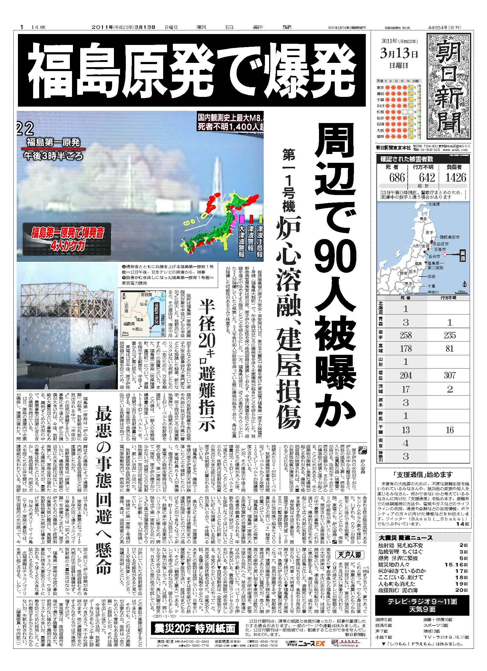 福島第一原発事故の現実と認識、その報道、それらのギャップ